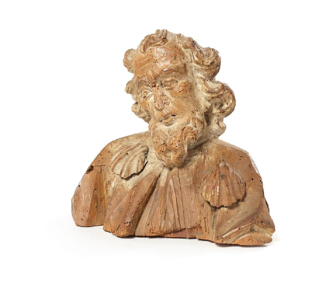 A pine bust of St James, late 16th / early 17th century