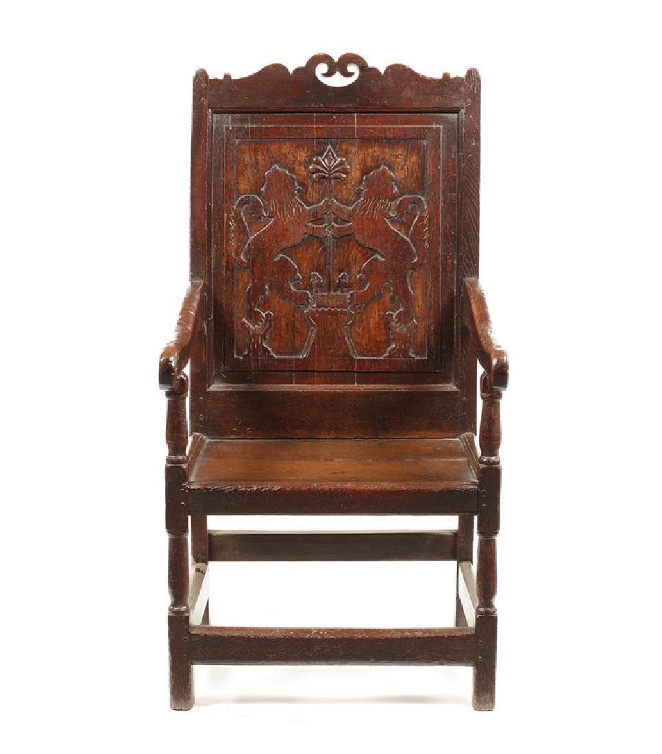 A Queen Anne oak armchair, early 18th century, Welsh