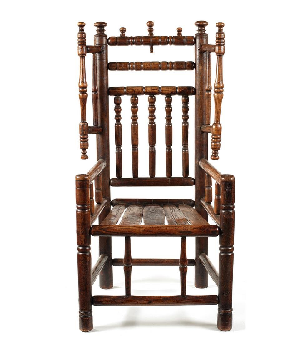 A Charles I figured ash Turner's chair, early 17thc
