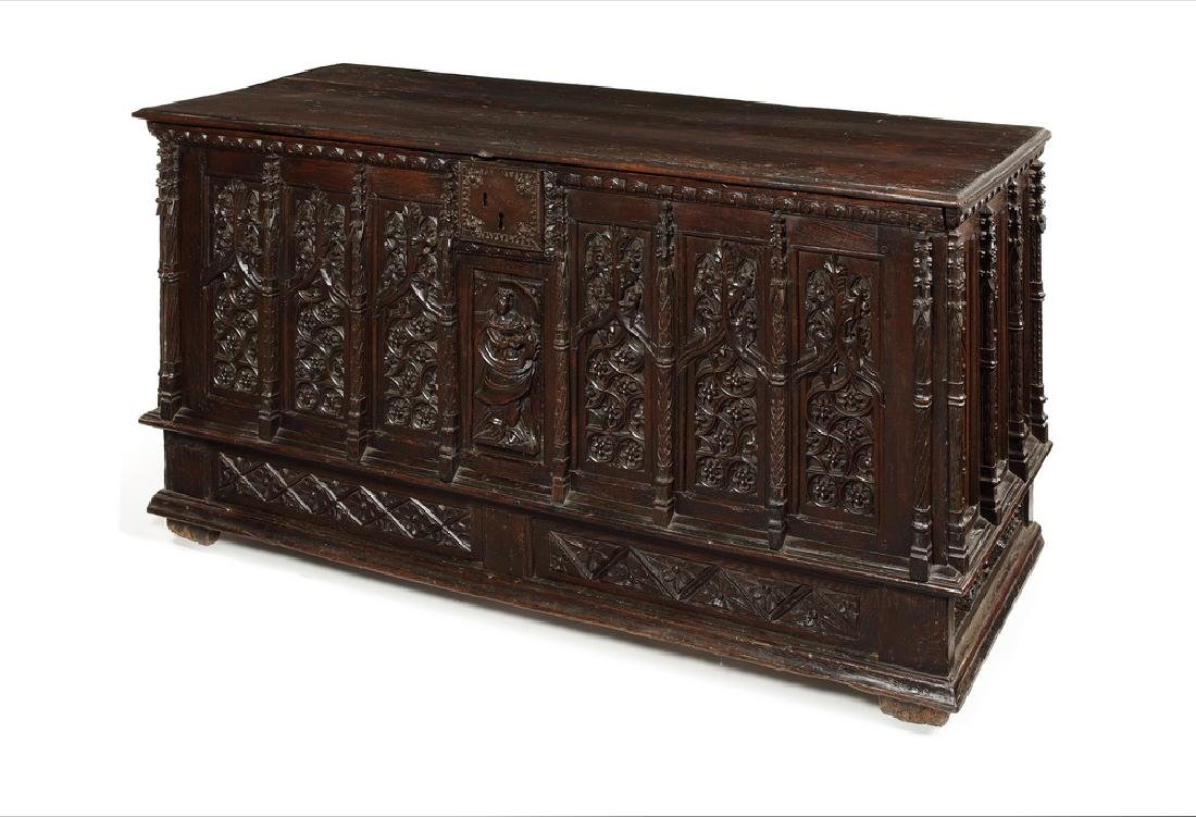 A large French Gothic oak chest, early 16th century