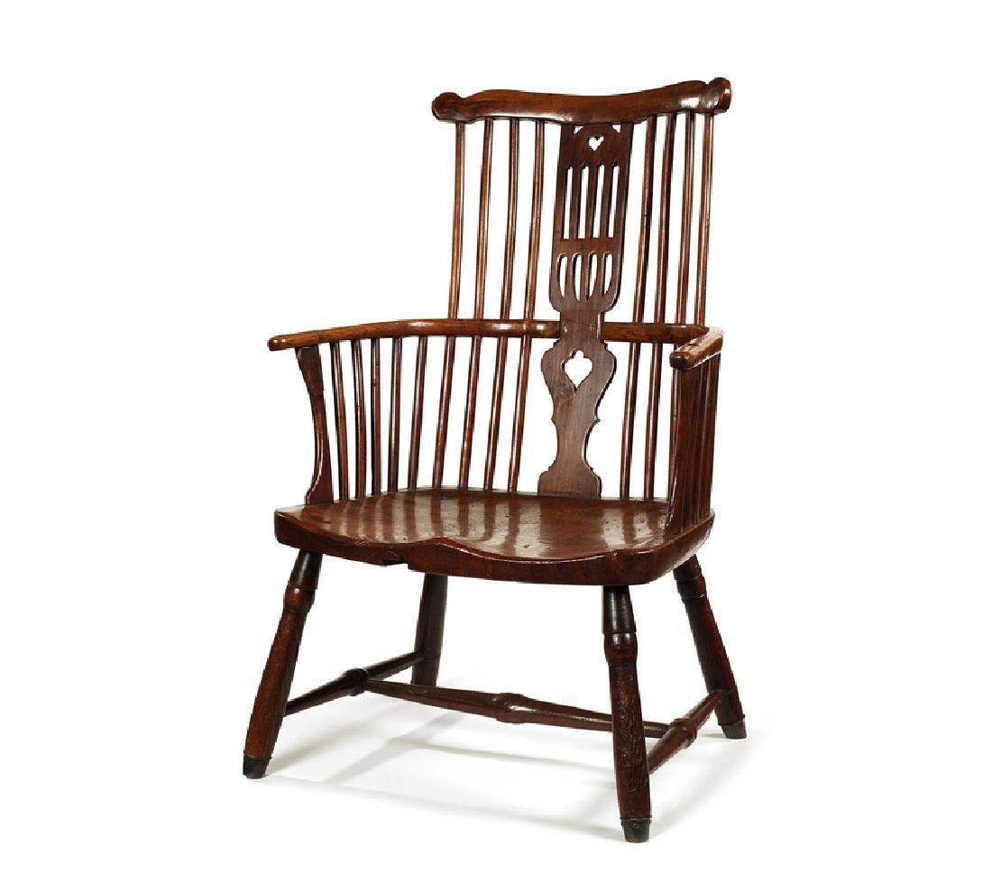 A George III ash, cherry and elm Windsor armchair
