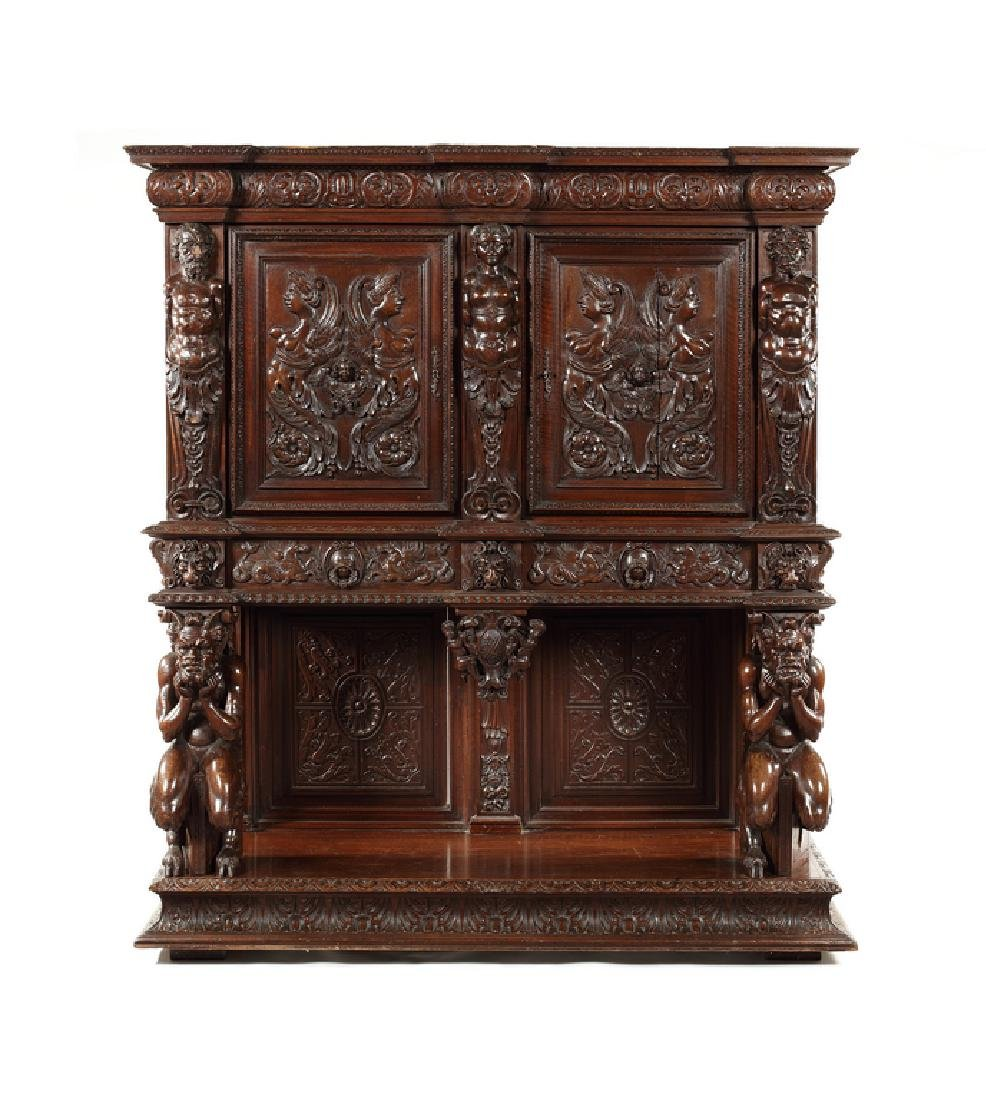 Renaissance Revival carved walnut cabinet on stand