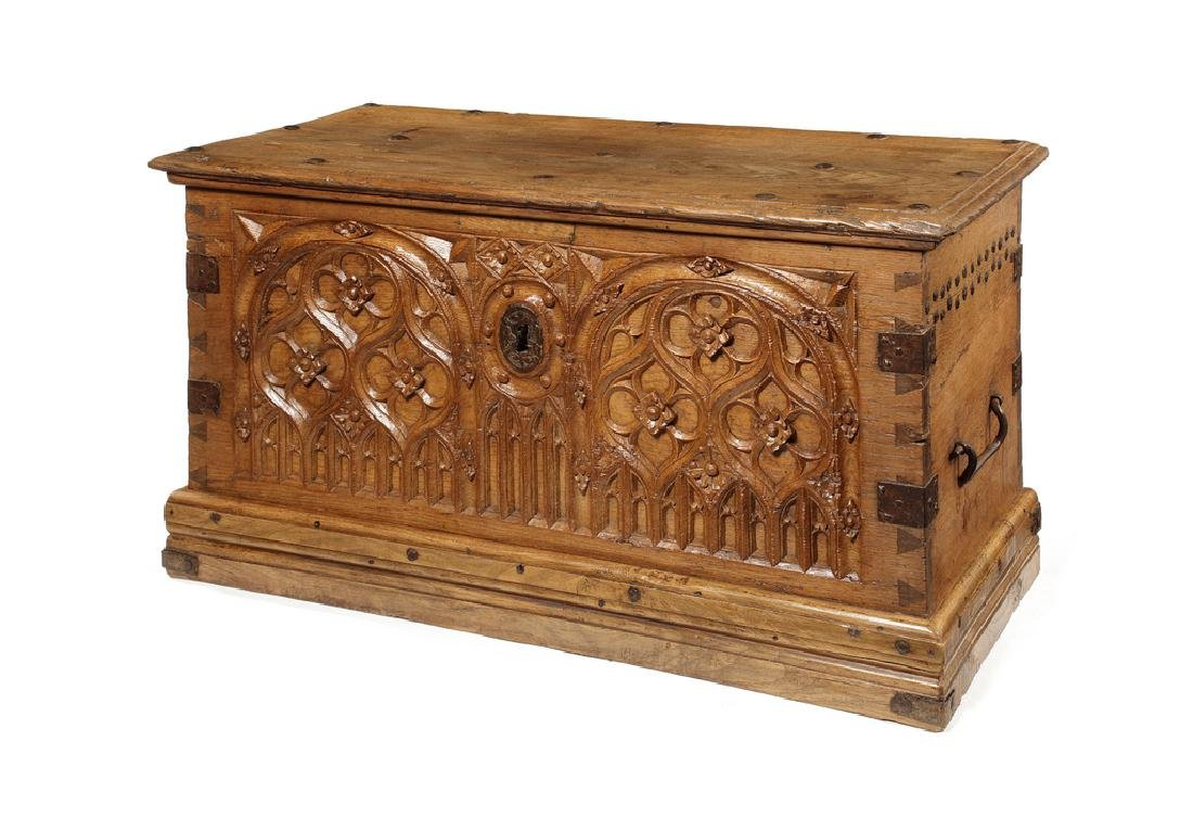 A small French Gothic iron-bound pale oak chest, 16thc