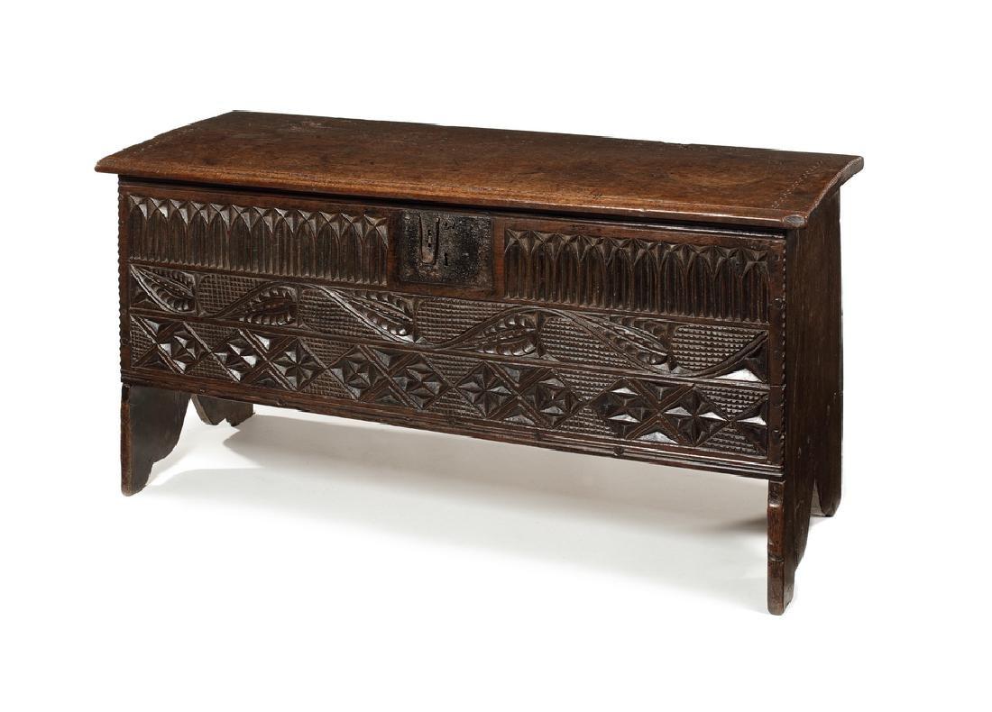 An Elizabethan oak plank chest, mid 16th century
