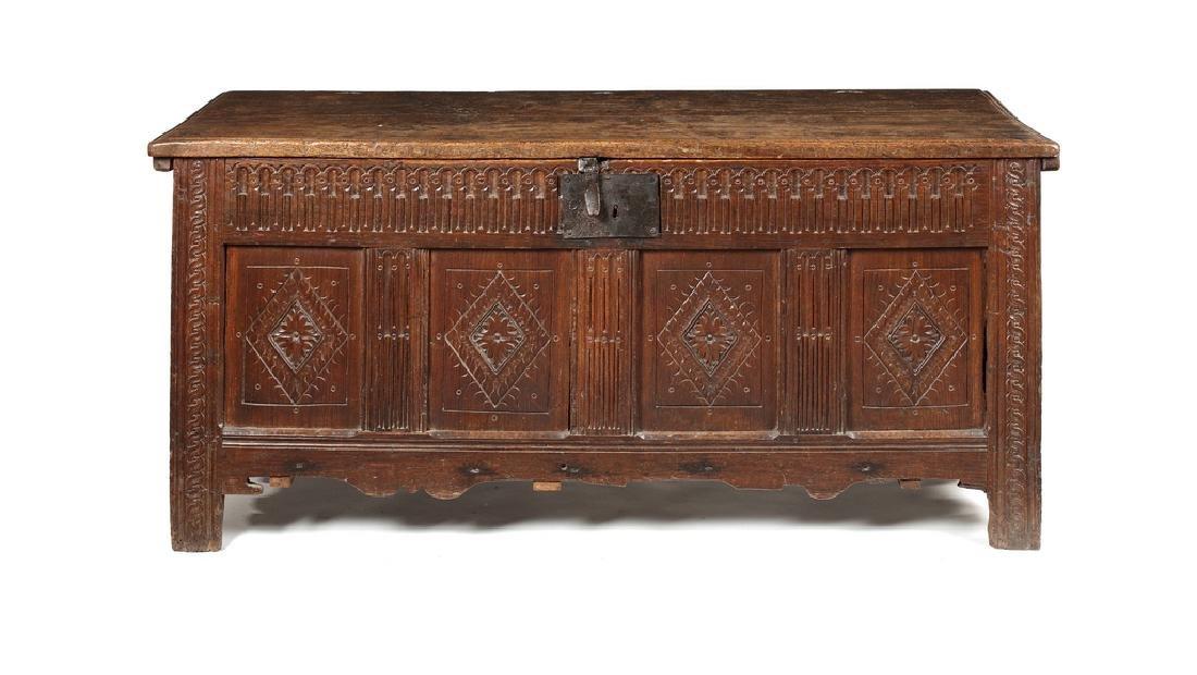 An Elizabethan oak chest