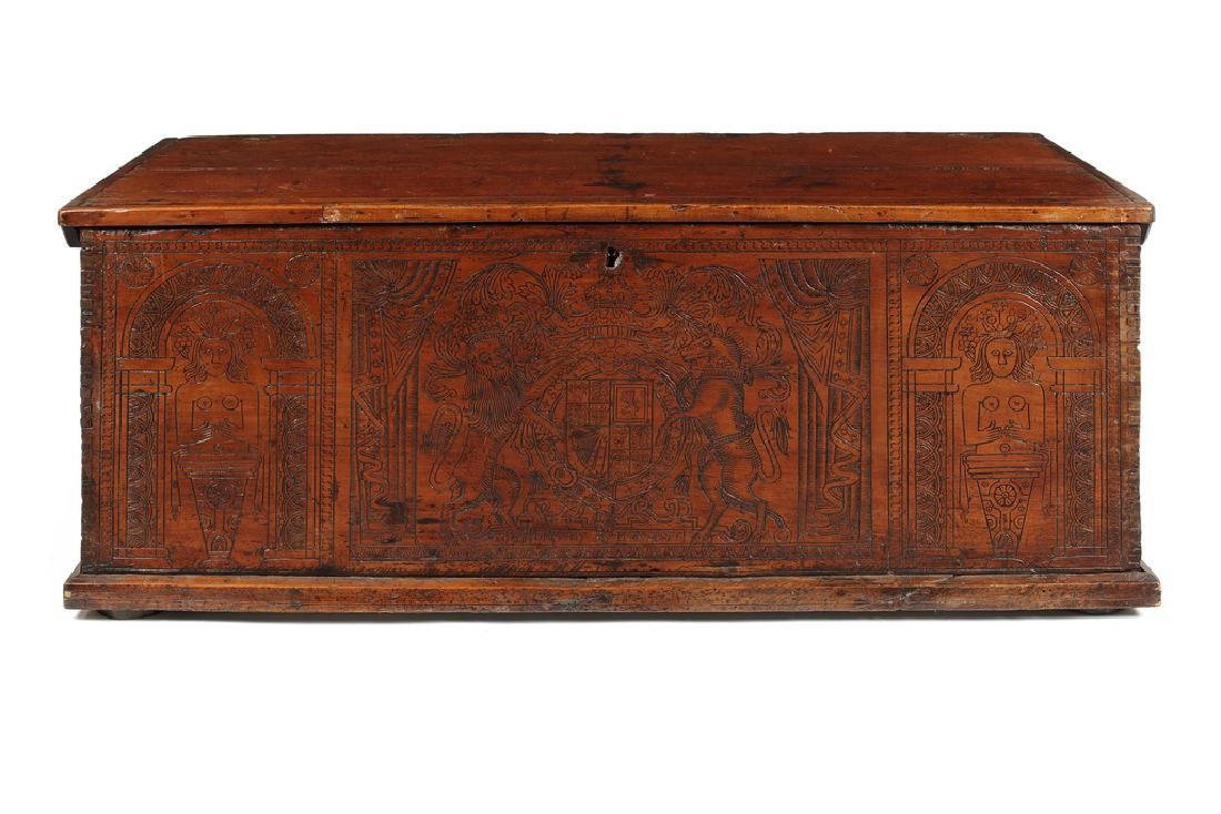 Italian cypress wood chest, late 17th/early 18thc.
