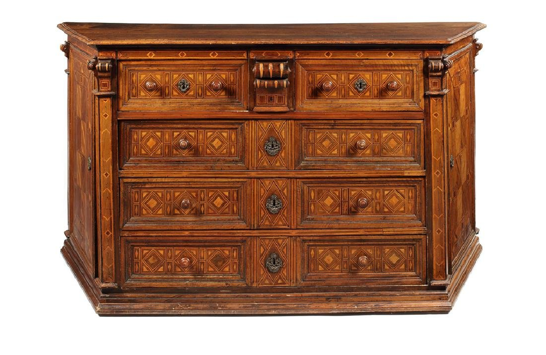 A large Spanish walnut and parquetry Credenza, 17thc.