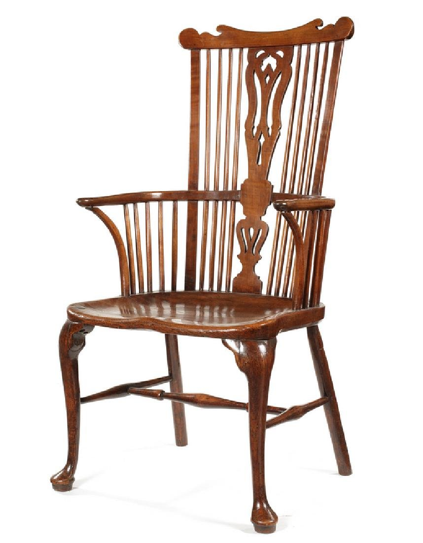 A fine George III cherry comb-back Windsor armchair