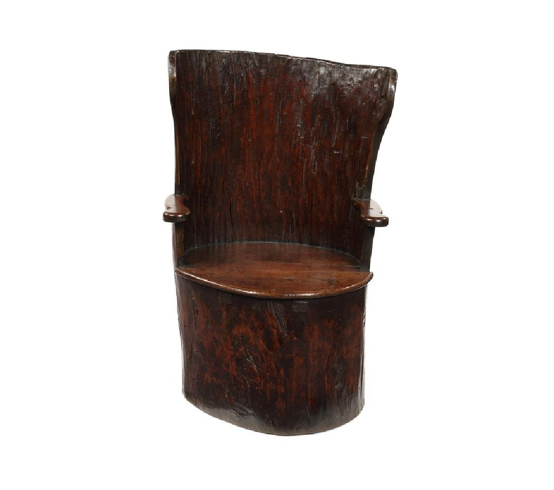 A small Victorian 'dug-out' chair, late 19th century