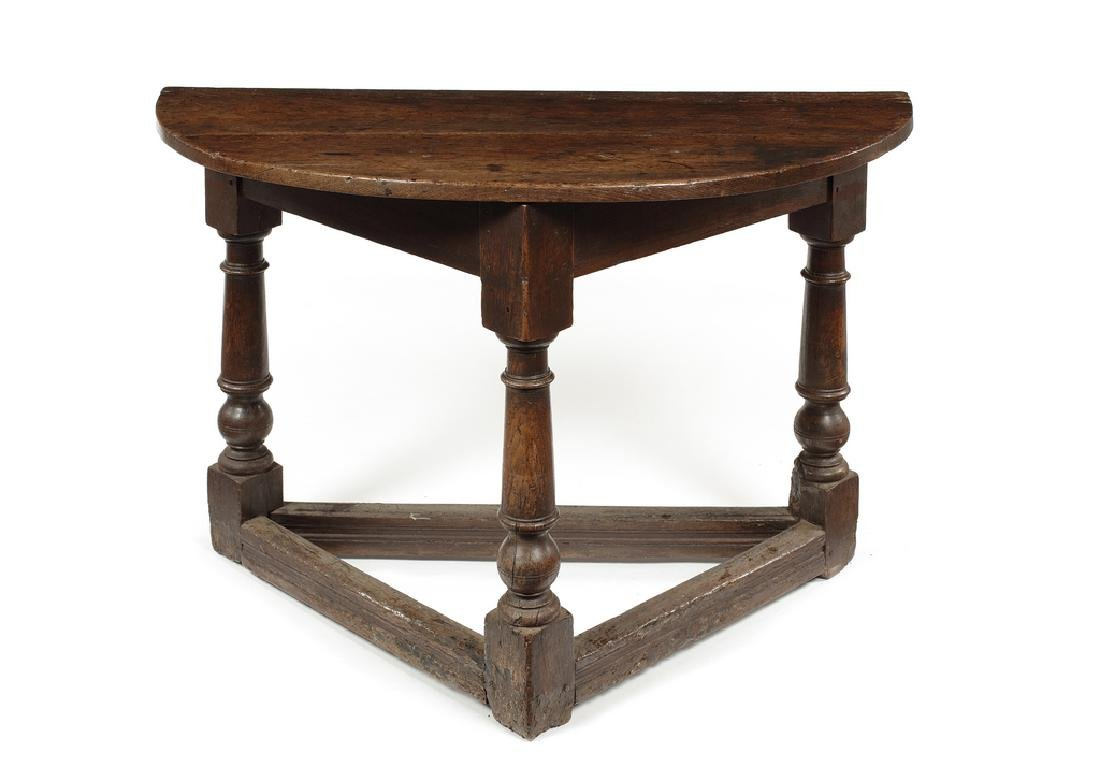 A William and Mary oak half-round table