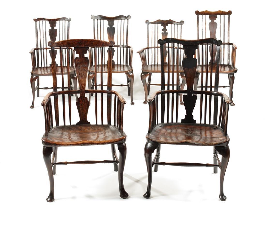 Matched set six George III Windsor armchairs