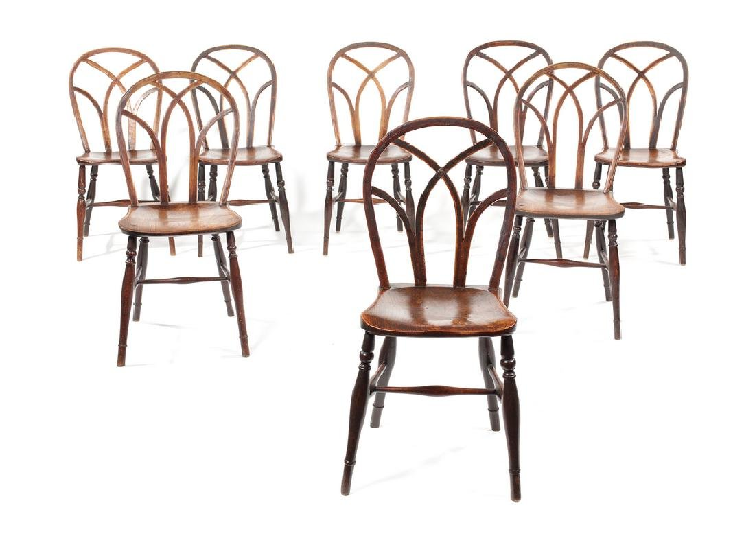 Matched set of eight George IV ash, elm Gothic Windsors