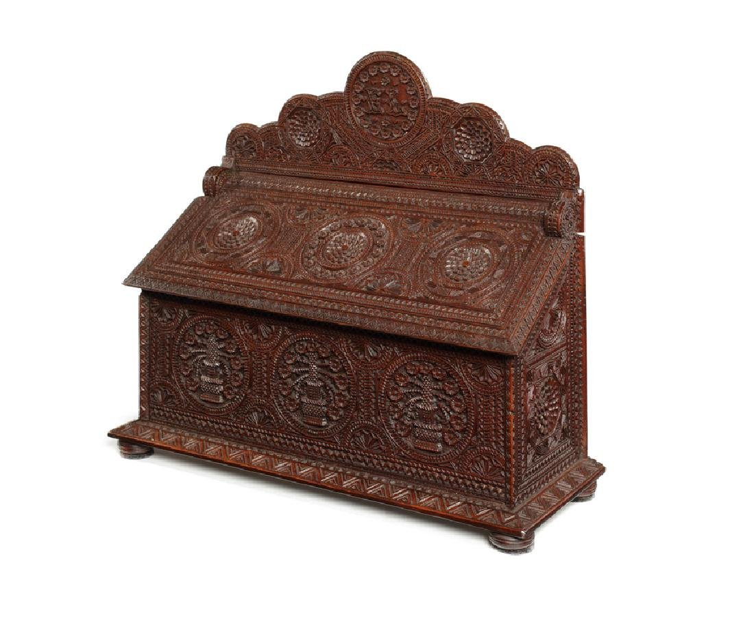A late 19th century N. European chip-carved box