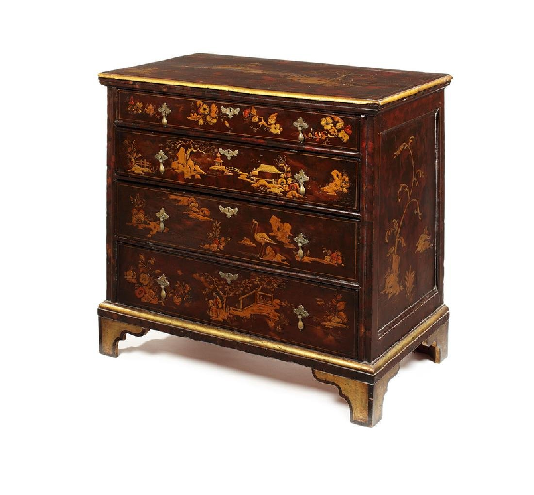 A William and Mary style japanned, gilt chest