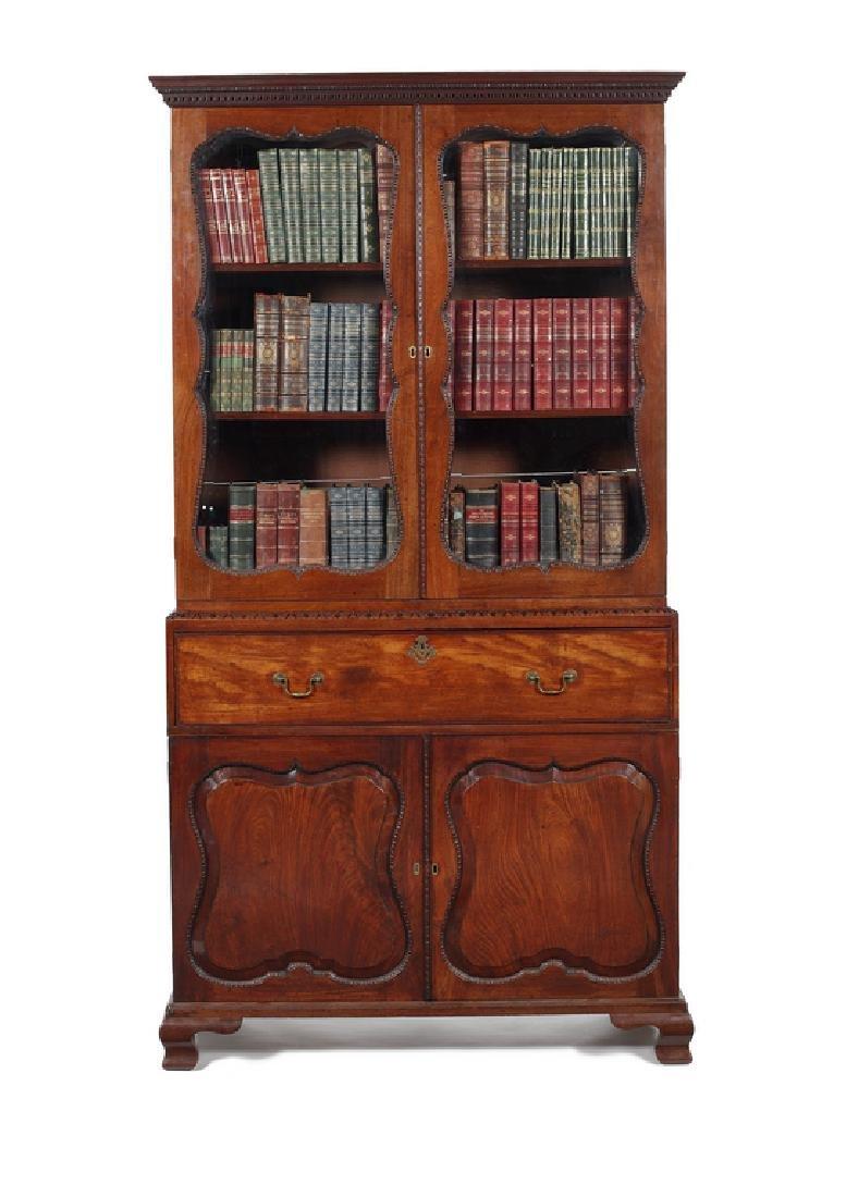 An early George III mahogany secretaire bookcase