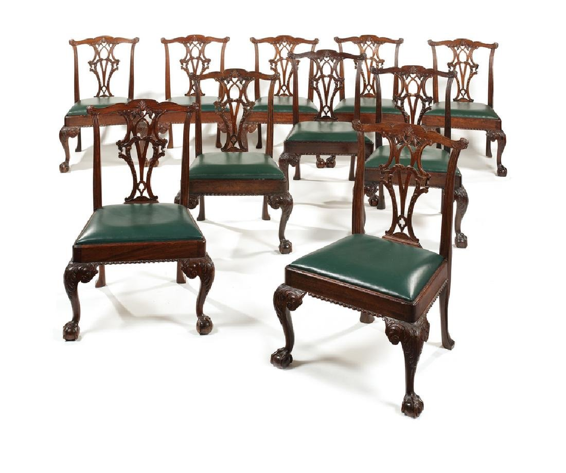 Set twelve 19thc. Chippendale style dining chairs
