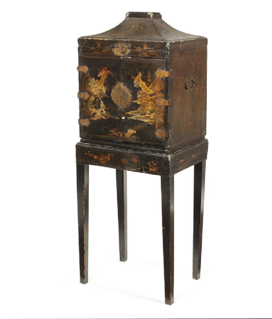 18thc. Chinese Export black lacquer cabinet on stand
