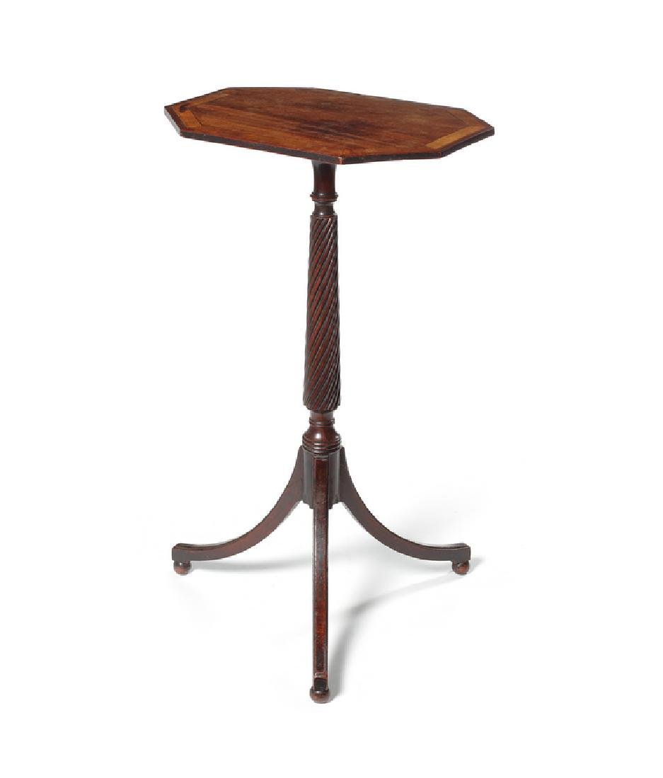 A late George III mahogany octagonal tripod table