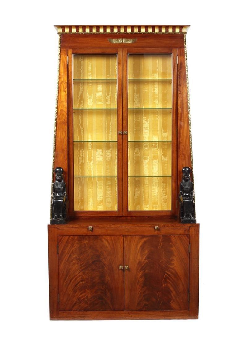Egyptian style mahogany, ebonised, gilt display cabinet