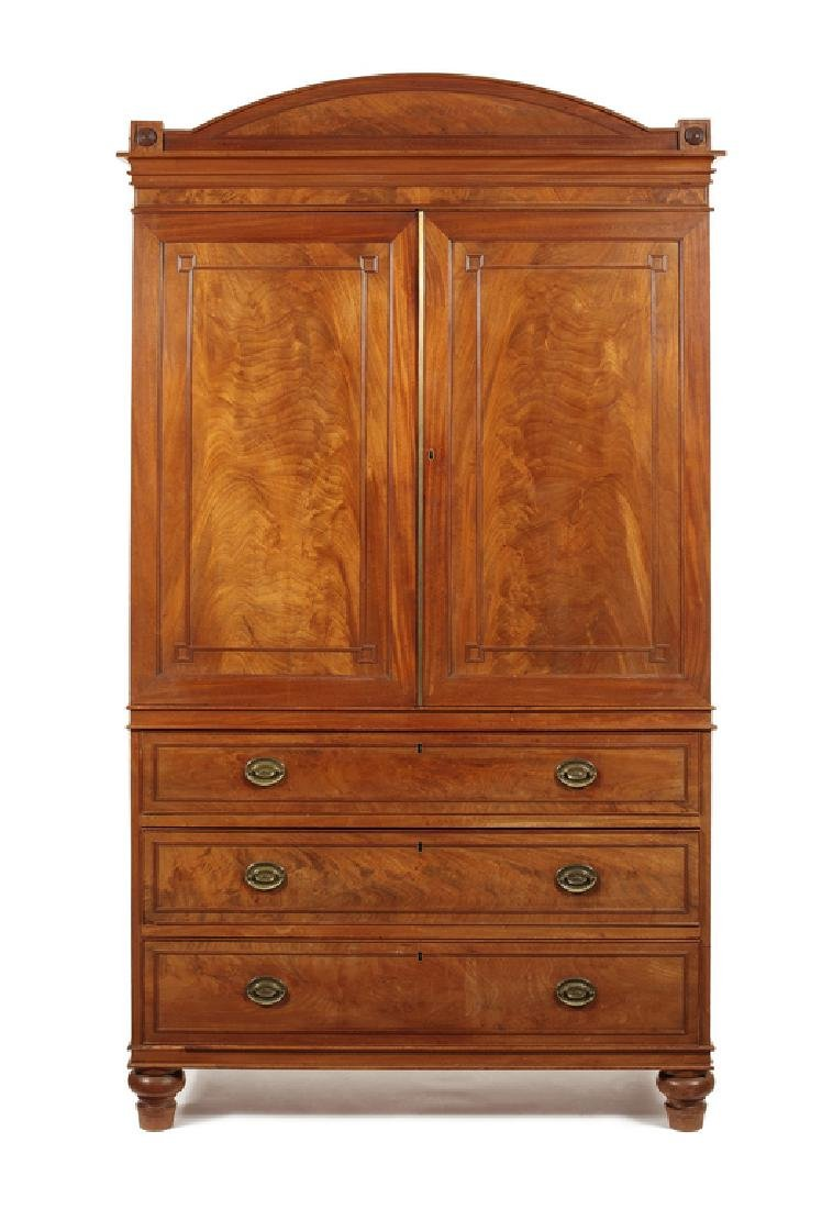Regency carved mahogany linen press attrib. to Gillows