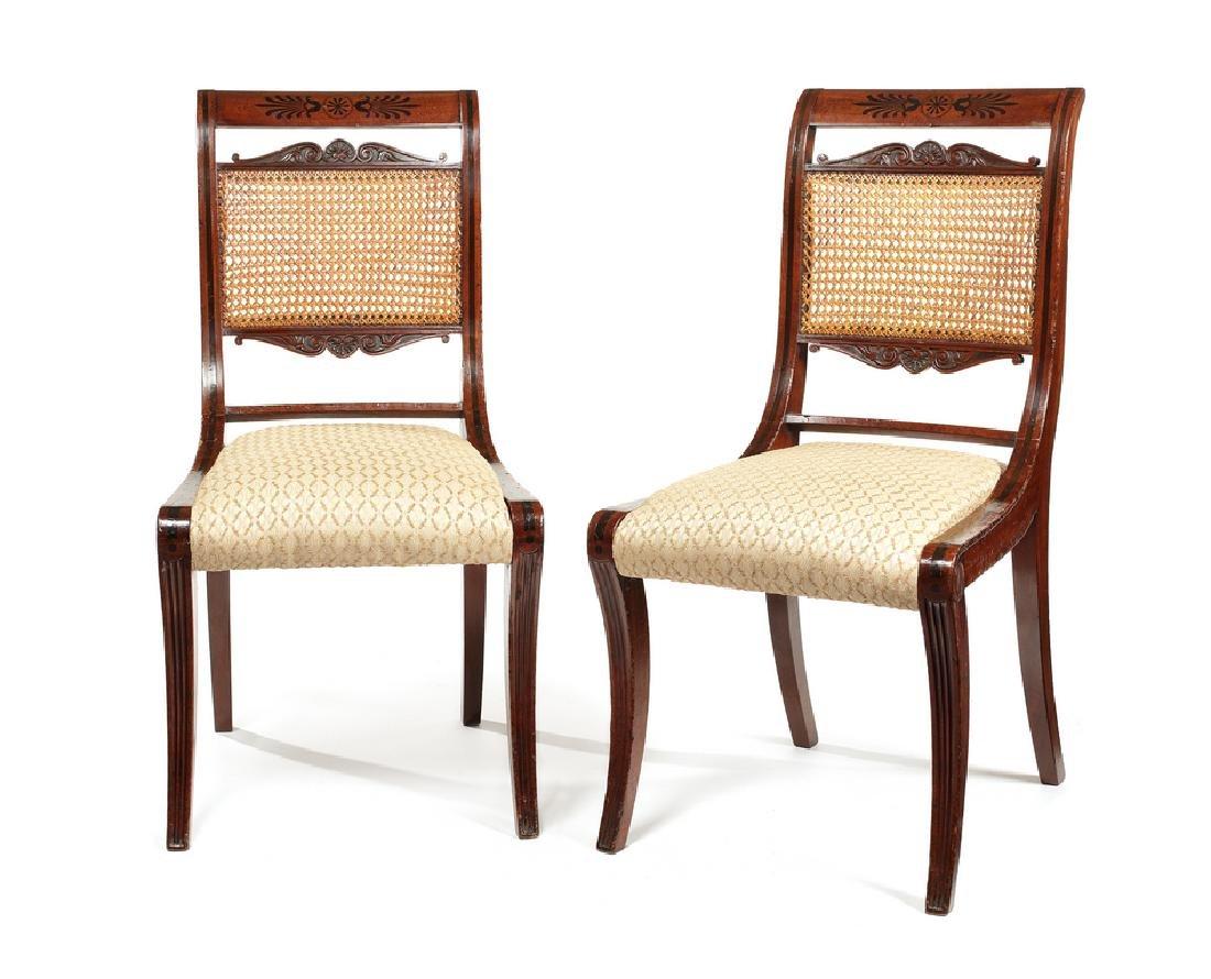 Pair Regency mahogany carved ebony inlaid side chairs