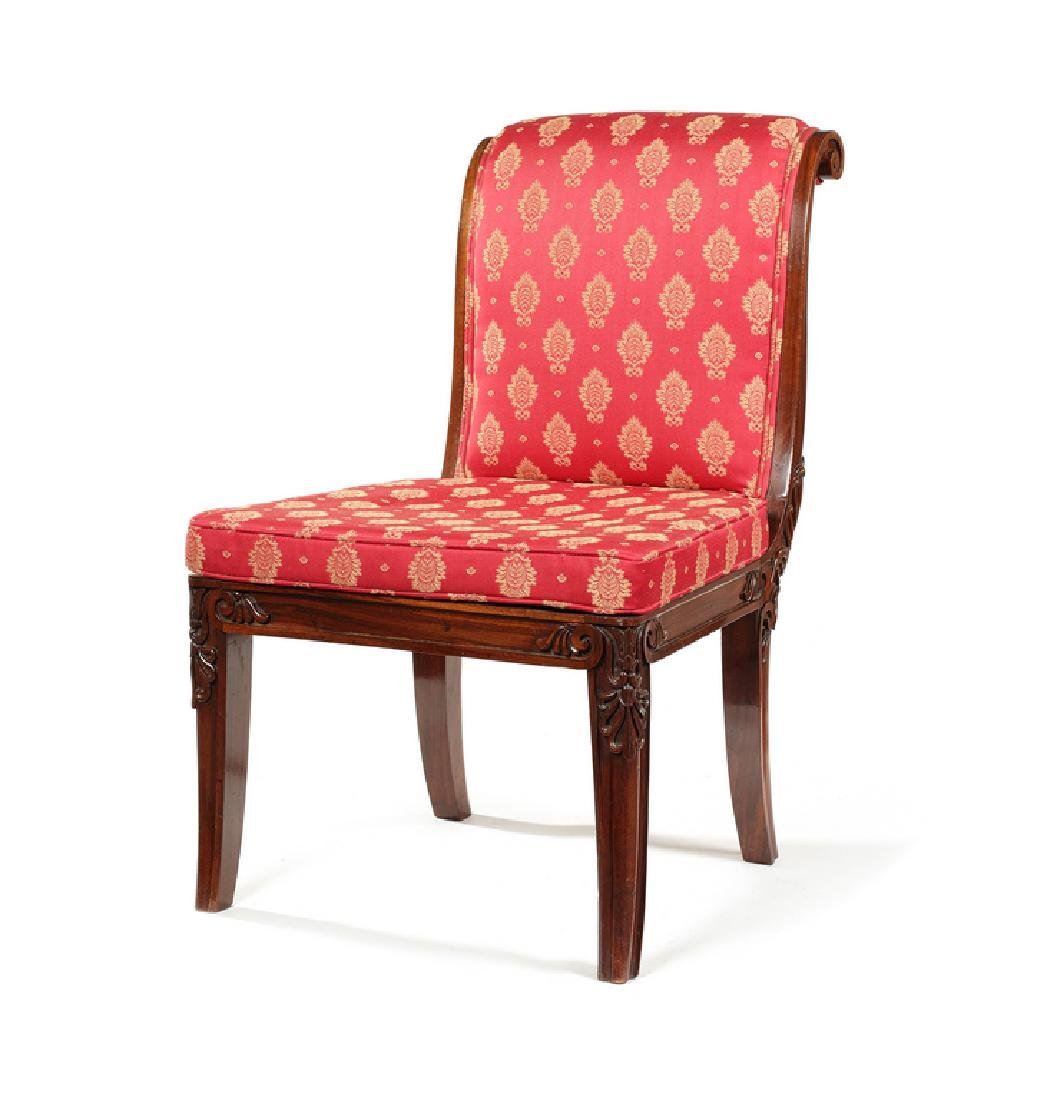 Regency rosewood carved low chair, Gillows of Lancaster