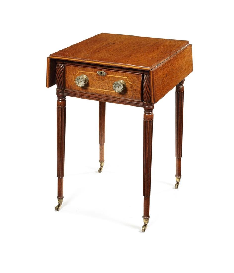 A George IV oak and line inlaid drop flap side table