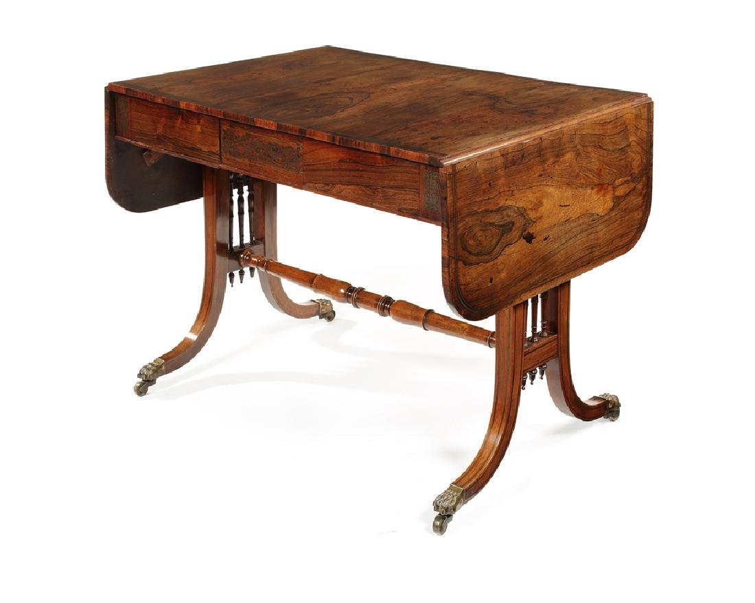 A Regency rosewood and brass marquetry sofa table