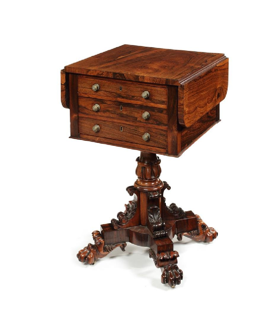 A William IV carved rosewood drop-flap work table