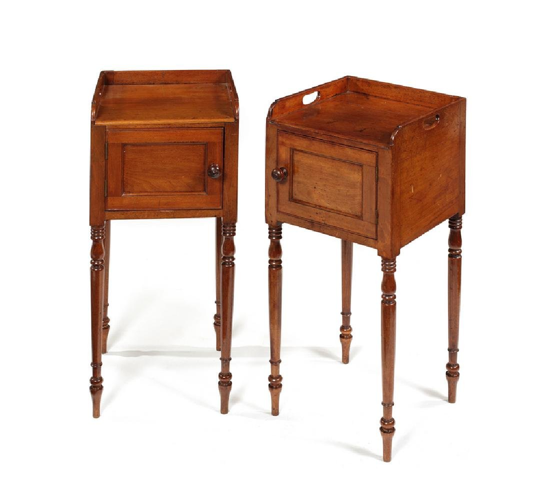 A pair of George IV mahogany pot cupboards