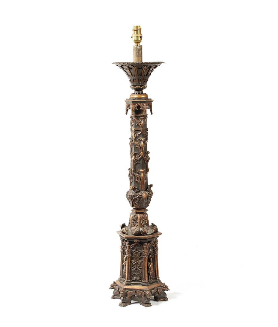 An early Victorian Renaissance Revival  bronze lamp
