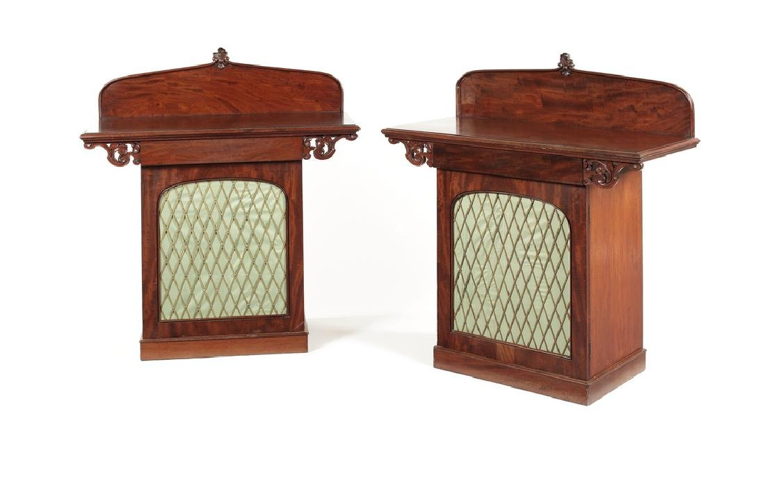 Pair of Irish Victorian carved mahogany serving tables