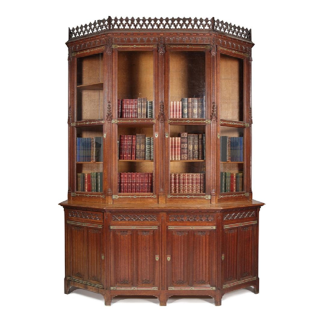 Victorian oak carved Gothic Revival library bookcase