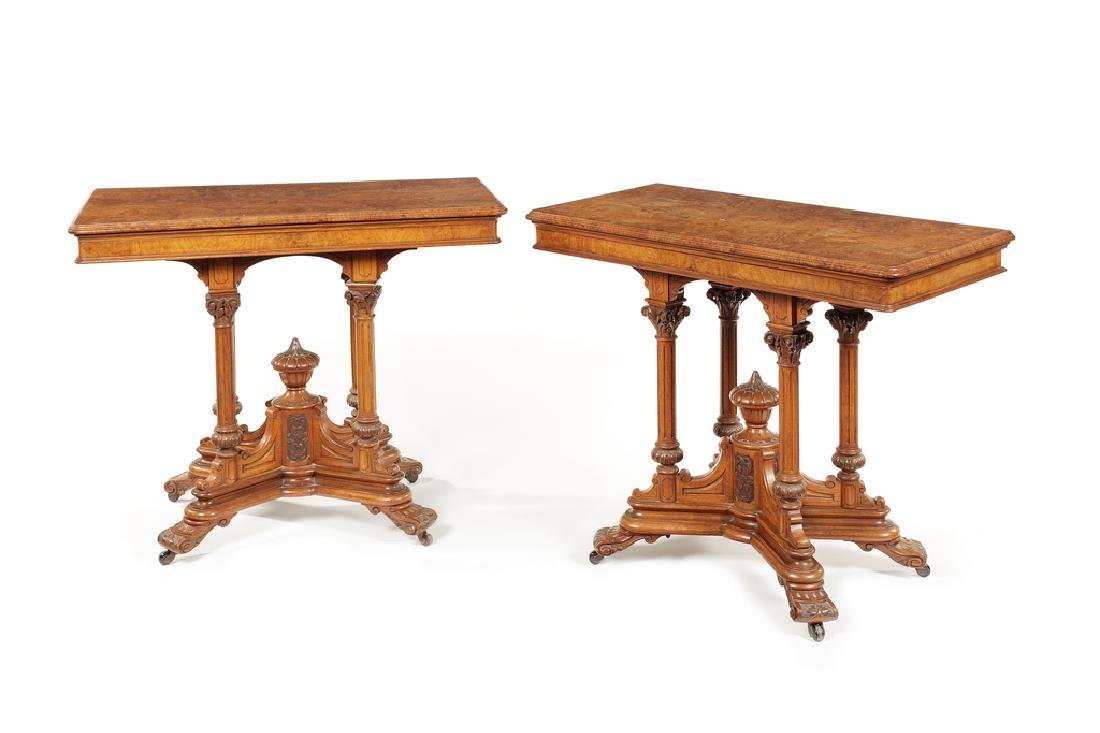 A pair of Victorian pollard oak carved card tables