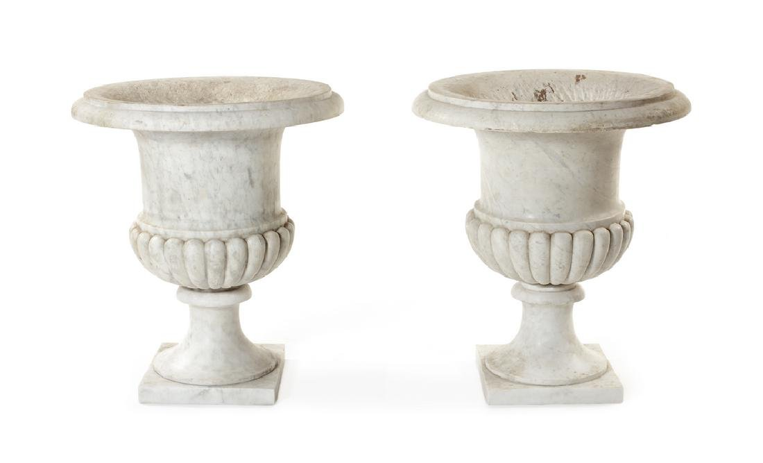 Pair of 19th century carved white marble Campana urns