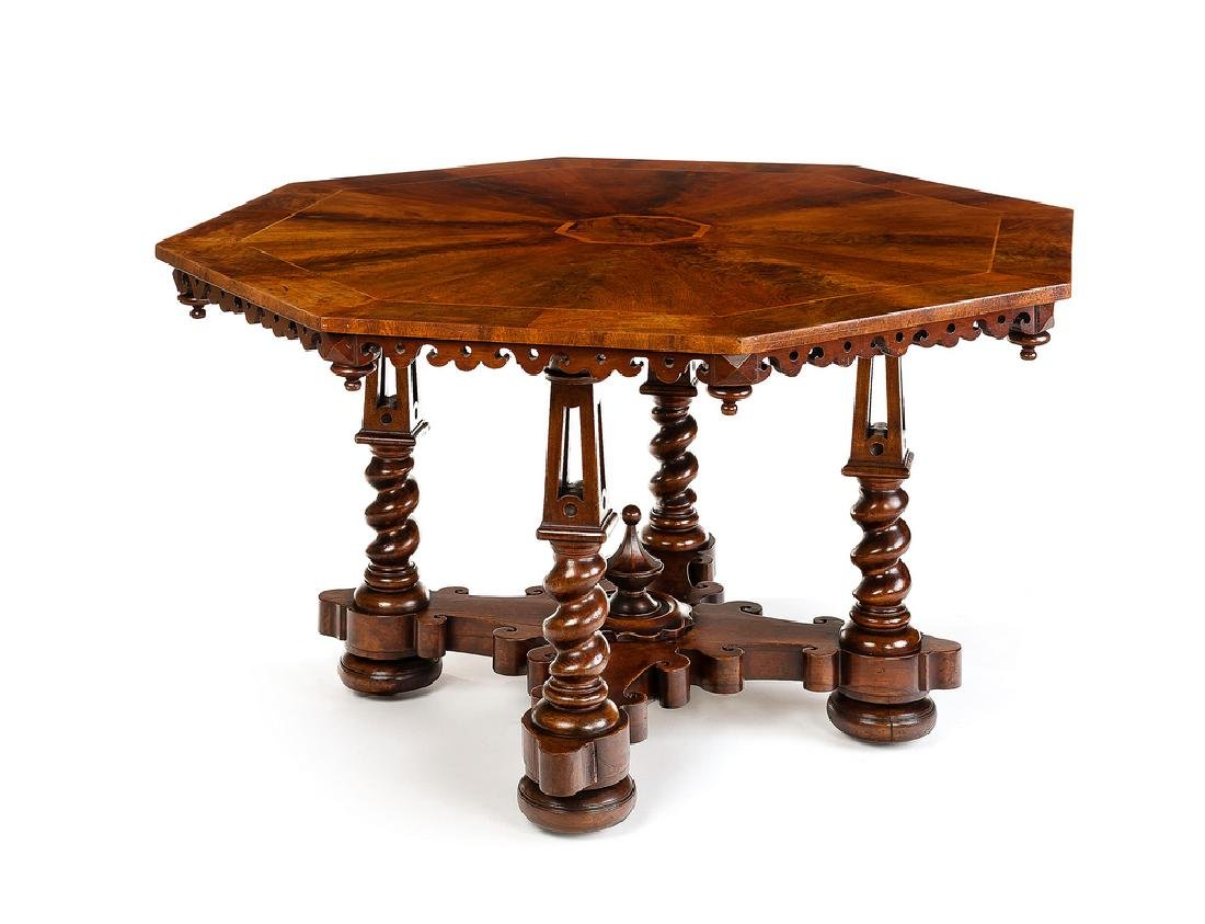 Victorian walnut centre table attributed to Willement