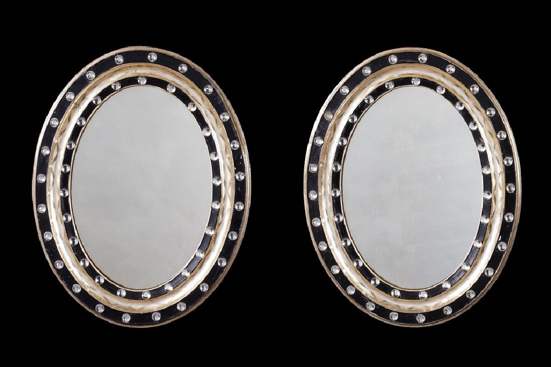 Pair 19thc. Irish ebonised & parcel-gilt beaded mirrors