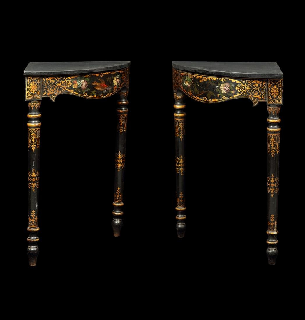 Pair of 19thc. ebonised, painted corner console tables