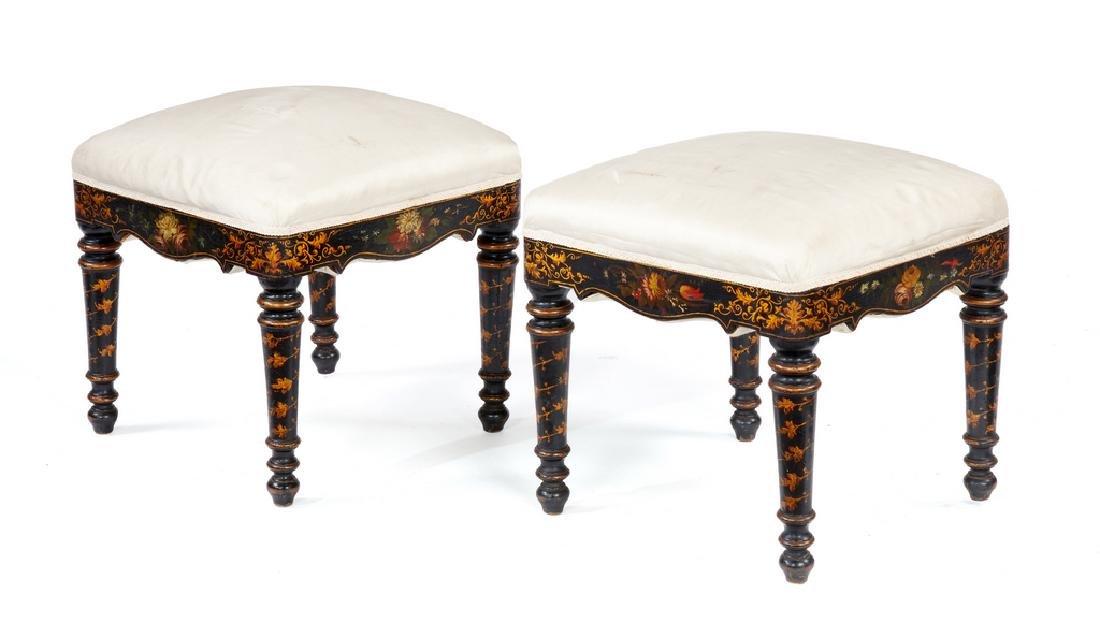 Pair 19th century ebonised, floral painted stools