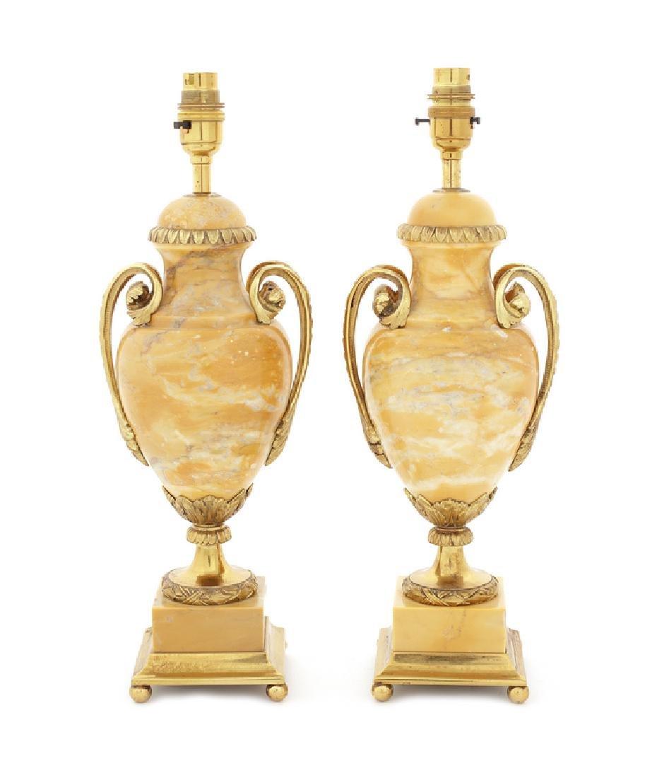 Pair Louis XVI style gilt bronze, siena marble lamp