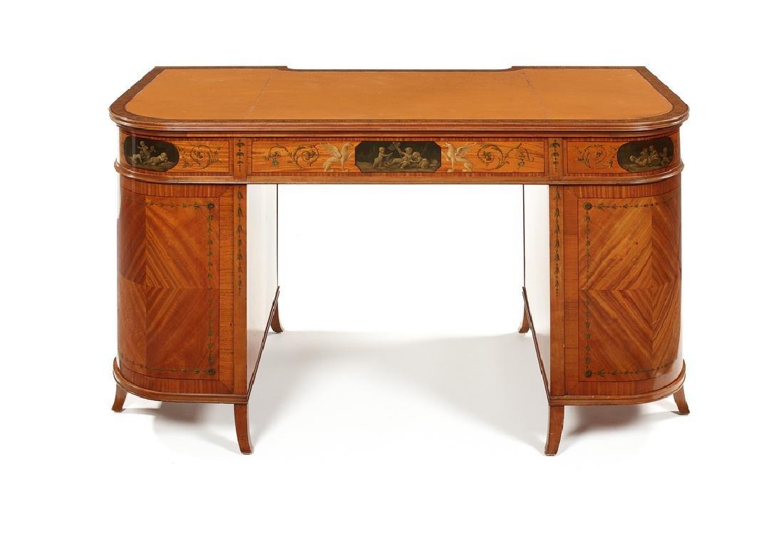Victorian satinwood, painted pedestal desk