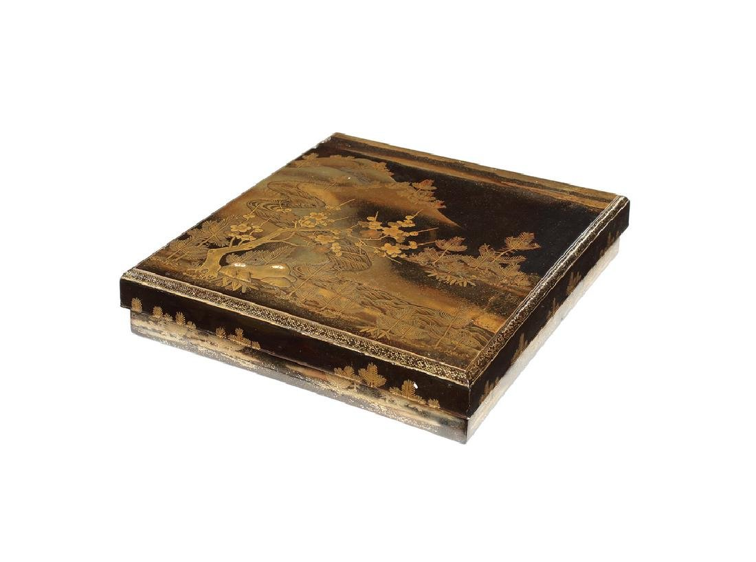 Japanese black and gilt lacquered writing box, Meiji