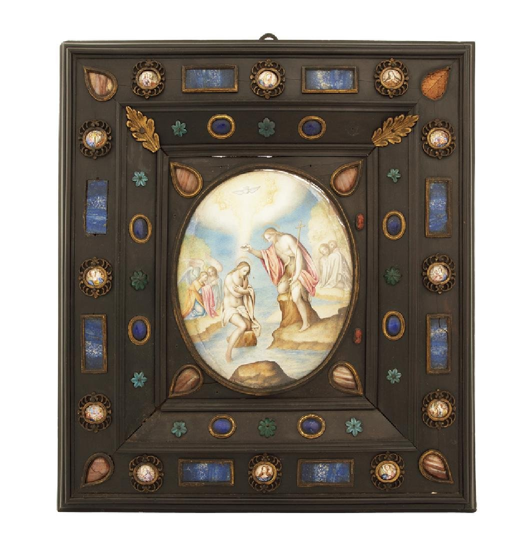 17th century Italian ebony moulded frame