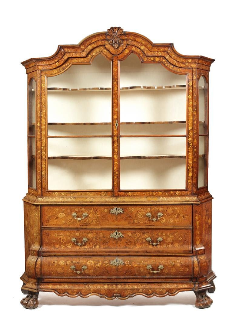 Late 18th/e. 19thc. Dutch marquetry display cabinet