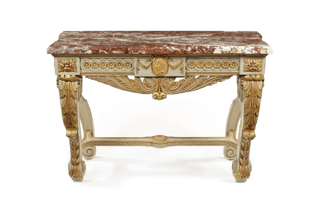 A late 19thc.grey painted and parcel gilt console table