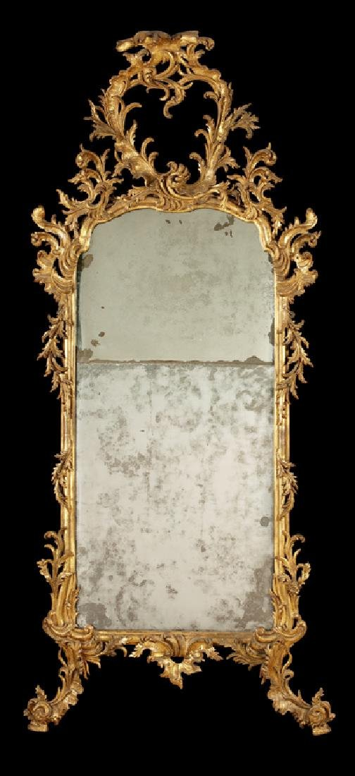 A late 18th North Italian carved giltwood pier mirror