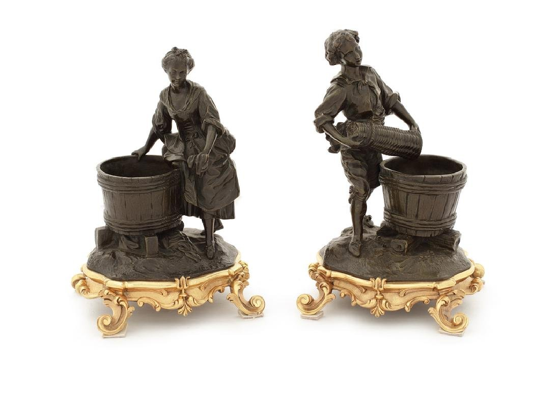 19thc. French patinated bronze and gilt bronze figures