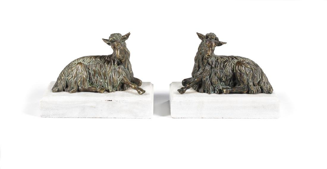 A pair of early 19th century French bronze goats