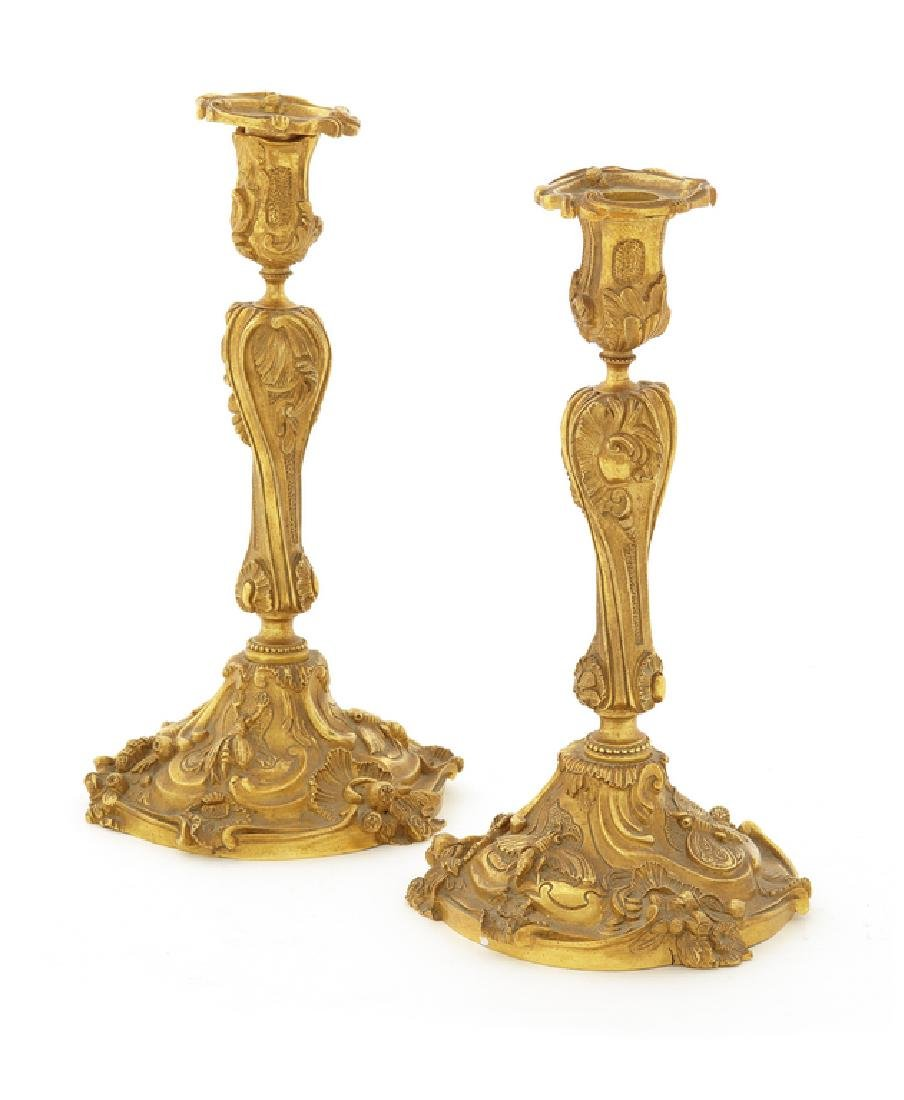 Pair of late 19th c. French gilt bronze candlesticks