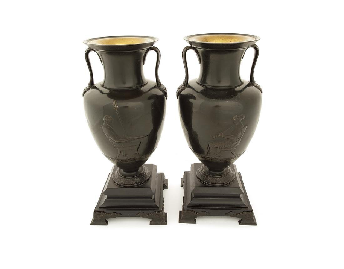 19thc. French bronze twin-handled Etruscan style urns